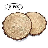 天然木スライス クラフト 未完成 木製円 木製コースター DIY クラフト クリスマスオーナメント 2 Pcs 8''-9''