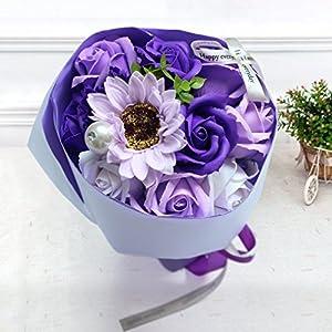 Yobansa 造花 フレグランス ソープフラワー プレゼント 花束 石鹸 薔薇 枯れない 花 バラ ブーケ プレゼント 結婚祝い 誕生日 母の日 父の日 定年祝い 還暦祝い 新築祝い 送別会 メッセージカード付き (パープル)