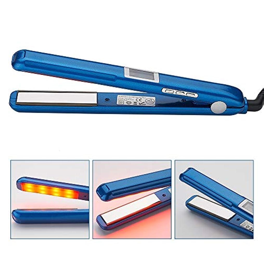 以来公爵破滅ストレートヘアスティック ポータブル赤外線スチーム矯正調節可能な温度セラミックストレートヘアロッドLCDディスプレイデザイン すべてのタイプの髪に適しています (色 : 青, サイズ : 27x3cm)