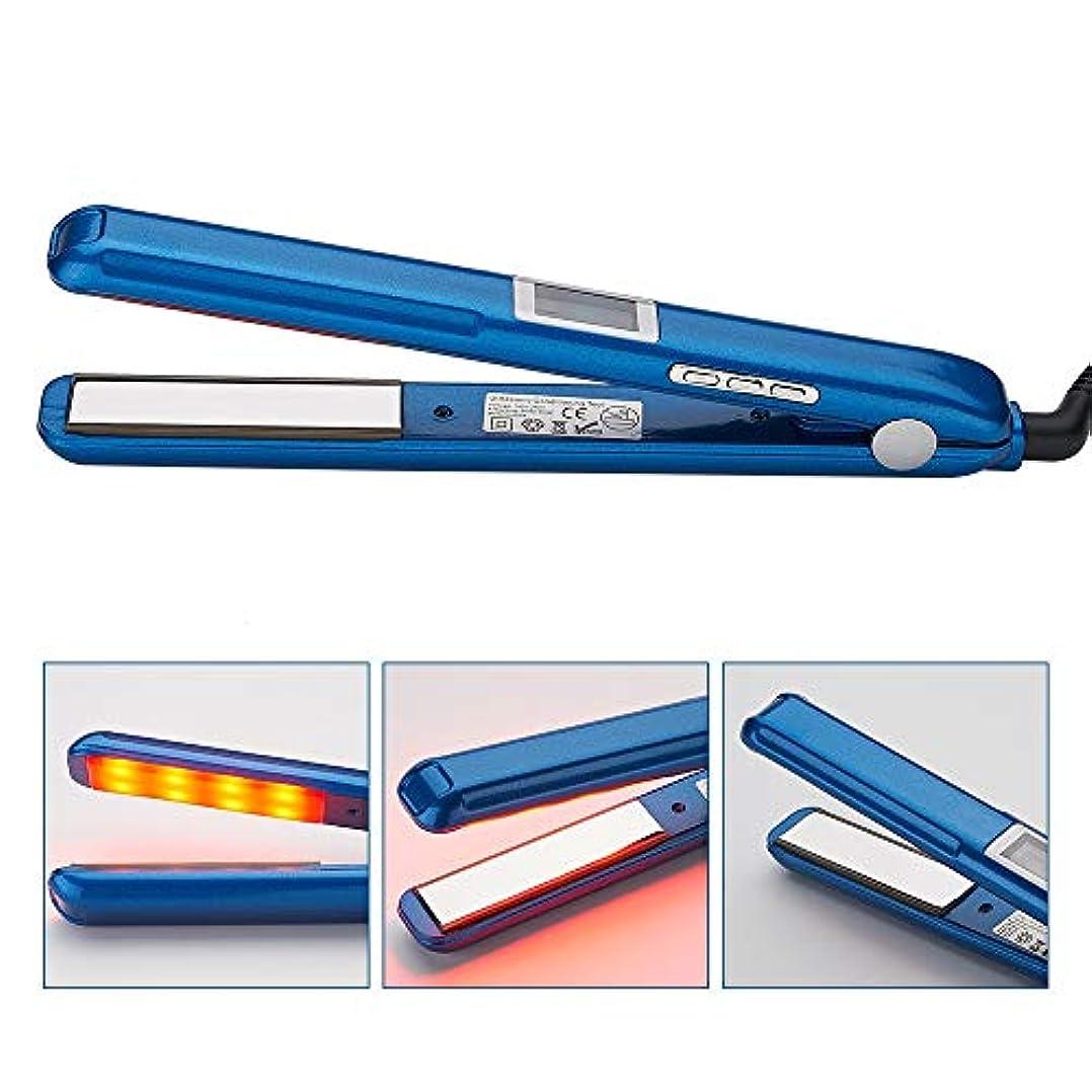 教育学ラケットマラドロイトストレートヘアスティック ポータブル赤外線スチーム矯正調節可能な温度セラミックストレートヘアロッドLCDディスプレイデザイン すべてのタイプの髪に適しています (色 : 青, サイズ : 27x3cm)