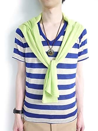 (モノマート) MONO-MART 10color 麻混 半袖 Vネック サマーニット カットソー メンズ ブルー