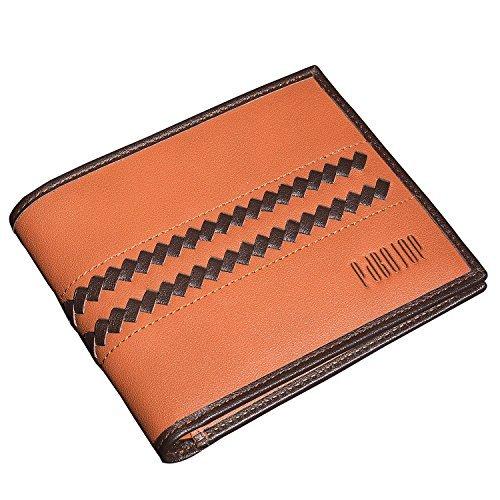 52f664c916e0 [パボジョエ] 財布 二つ折り モテる ファション メンズ レザー 本革 職人が作る 名刺入れ 薄型 人気 ブランド プレゼントに最適 (横型ブラウン)