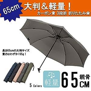 <旅行に便利>軽量カーボン骨折畳み傘 65cm 大判 無地 テフロン加工 グレー