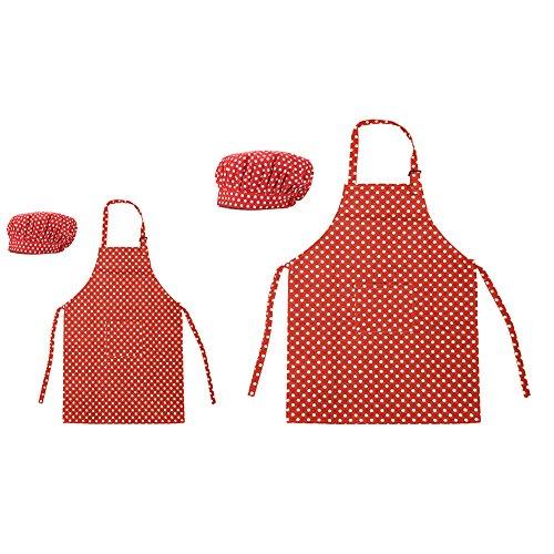 Opromo 多色 子供用 コットンキャンバス エプロン+帽子 ポケット付き(1セットの価格) - レッド ドット 親子ペア - L