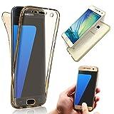 Vandot Samsung Galaxy S4 I9500 スマホケース スリム 薄型 透明 ソフト シリコン TPUケース 前後カバー 全面保護 タッチ操作可能 ギャラクシーs4ケース おしゃれ 前後セット-ゴールド