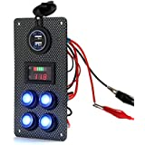 Audew Cars/Boats Switch Panel Carbon Fiber Surface Yacht Refit Universal Switch Panel 12V