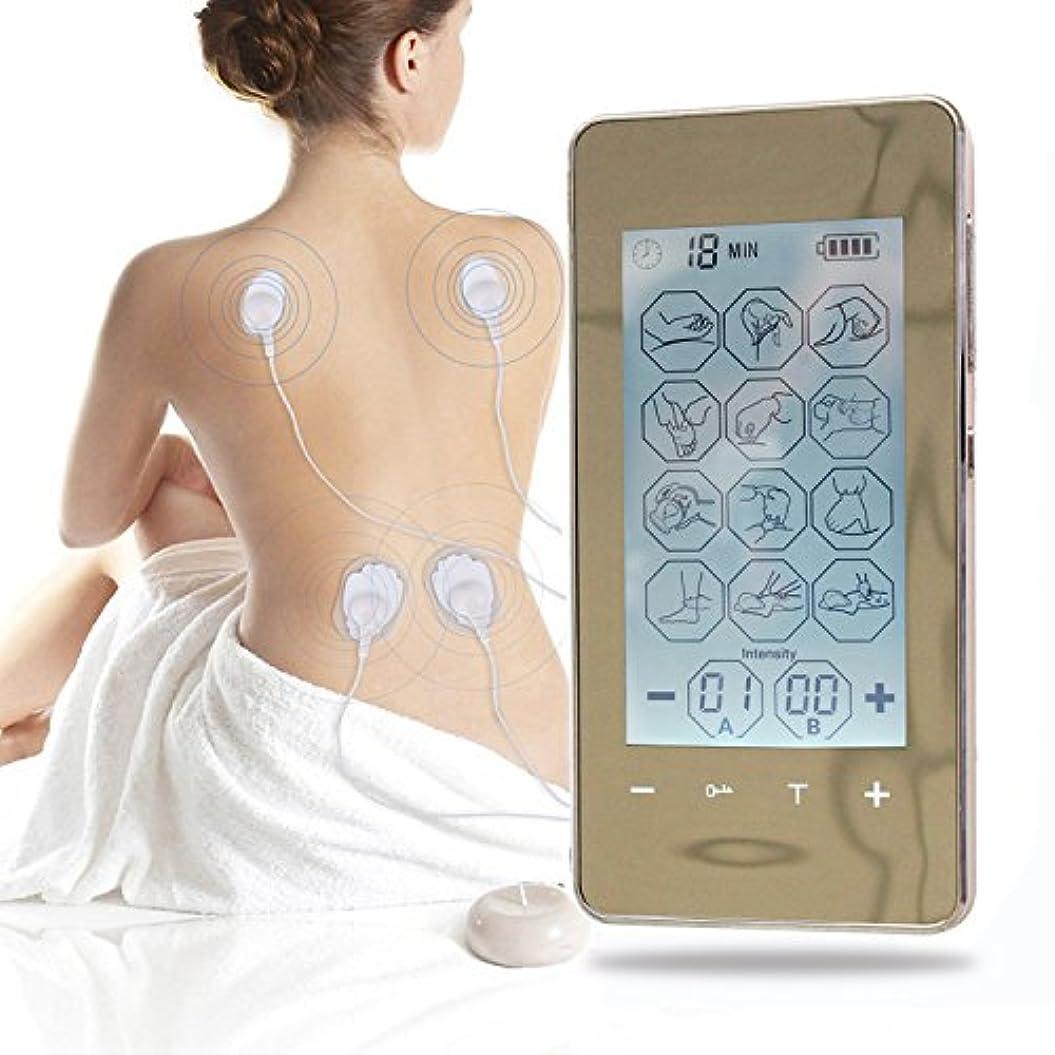 豊かな成果遅滞【新バージョン】JHZ 最高のポータブル充電式数万円 EMS ユニットのタッチスクリーンと痛み管理リハビリ12モードと8パッドパルスインパルスマッサージバックネックストレス坐骨神経痛筋肉の救済を治療するため