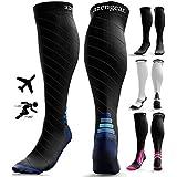 Compression Socks for Men & Women (20-30 mmHg) - Anti DVT Stockings - Swollen Legs - Varicose Veins - Edema - Running - Sports - Nurses - Shin Splints Calf Pressure Support - Pregnancy - Blood Circulation - Flight Travel - L/XL