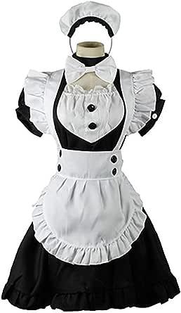 [milky time] 英国風 メイド服 カチューシャ付き ひざ丈 メイド (M)