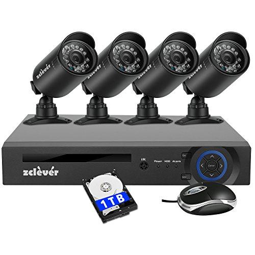 Zclever 防犯カメラセット 4チャンネル 防犯カメラ 1080N HD 監視カメラシステム 1200TVLセキュリティカメラシステム 全天候720P HD CCTV監視カメラ 監視カメラ 四台 屋内&屋外 モーション検知 日本語システムサポート(1TB HDD付き)