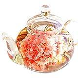優雅セット 花咲く工芸茶10種とガラスティーポット (ホワイトデーラッピング)