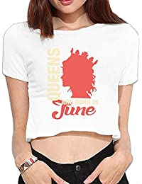 Queens Are Born in 6月Lady 's半袖midriff-baring TシャツTシャツ