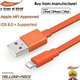 YellowKnife ® Apple MFI承認ライトニングUSBケーブル–3.3Ft / 1m (フラットオレンジ)