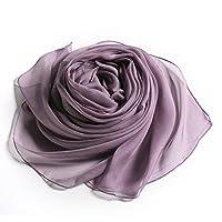 PanPan Amore全23色 100% 絹 シルク ストール 大判 スカーフ 無地 シンプル 薄手 羽織り マフラー 冷房対策 uvカット 防寒 110*180cm(スキンパープル)