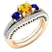 14Kローズゴールド5.5MMラウンド宝石とダイヤモンドレディース婚約リングセット
