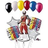 11 pc Power Rangers Ninjaスチールバルーンブーケパーティー装飾誕生日レッド