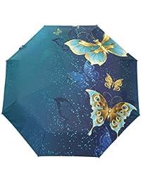 KASAMOバタフライ 蝶々 折りたたみ傘 子供 キャラクター ワンタッチ自動開閉 耐強風 折りたたみ傘 レディース 晴雨兼用 軽量 紫外線傘 UVカット