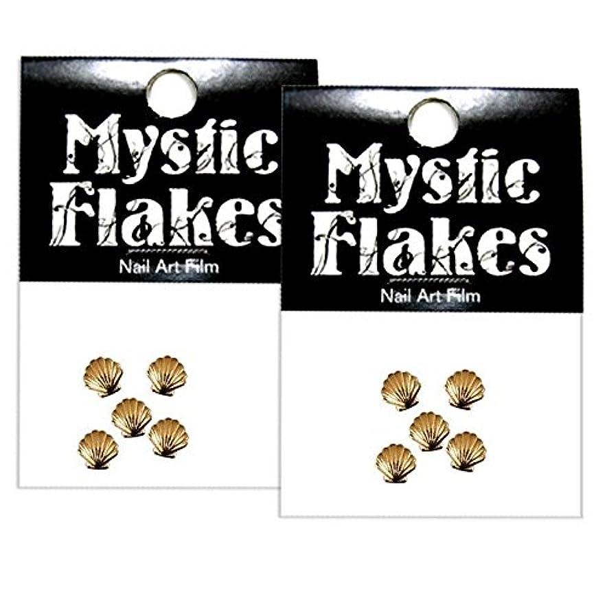 狼称賛眠るミスティックフレース ネイル用ストーン メタルシェル ゴールド 3mm /5P 2個セット