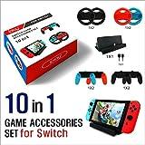 Nintendo Switch アクセサリー【10点セット】グリップ 充電スタンド Joy-Con ハンドル ニンテンドースイッチ 保護カバー Switchケース