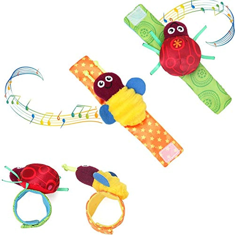 Aijiaye BabyToys ソフトラトルおもちゃ 2点 新生児ギフトセット 手首 ガラガラ 手開発 早期教育玩具 3 6 9 12ヶ月 新生児 幼児