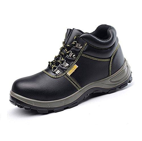 [ブルーポメロ]安全靴 作業靴 ハイカット メンズ 防水 防寒 耐油 鋼先芯入(JIS H級相当) 裏起毛 黒 軽量 滑り止め (25.0cm, ブラックータイプA)