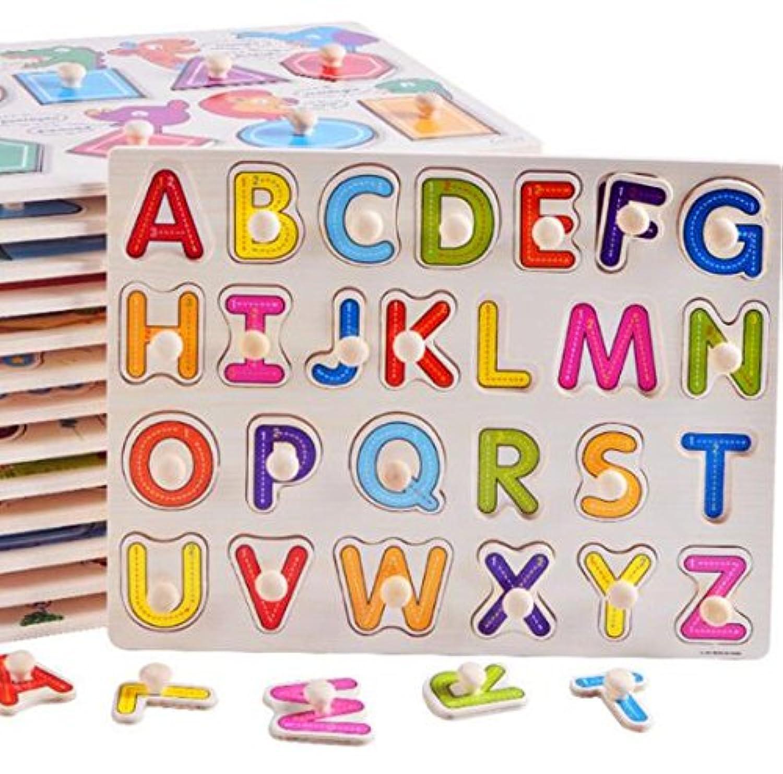 HuaQingPiJu-JP 子供のための木製の就学前の単語形状のパズルボード教育パズル