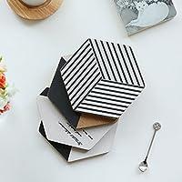 housewaresstore- テーブルマット日本式白黒六角木製プレースマット断熱キャセロールティーカップ西洋テーブルマット1 table mat (色 : A)