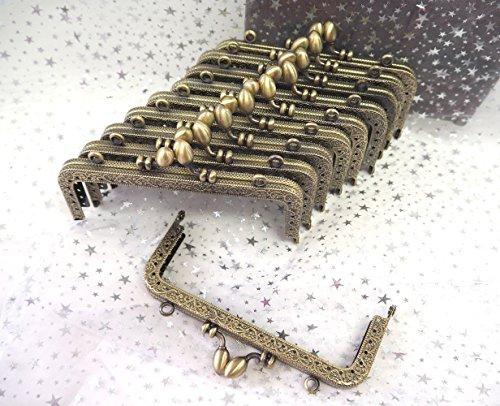 がま口 アンティーク 風 パーツ 角型 くし型 口金 セット どんぐり 選べる 材料 手芸材料 ハンドメイド (角型どんぐり 12.5cm 10個)