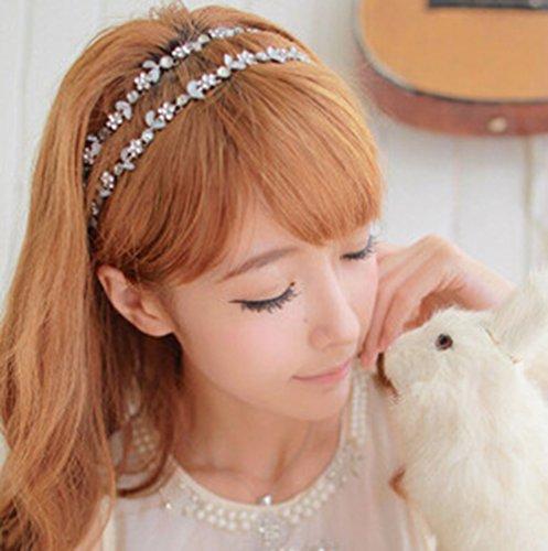 (チ-ンスン) Qingsun キラキラ 髪飾り ヘアアクセサリ カチューシャ 二連 ラインストーン  おしゃれ  彼女へプレゼント