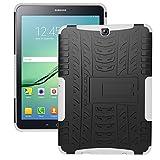 Samsung Galaxy Tab S2 SM-T810 ケース スタンド機能付き 背面カバー PC + TPU 軽量 薄型 2in1 スマートフォンケースSamsung Galaxy Tab S2 SM-T810 (9.7インチ)保護カバー 本体の傷つきガード - ホワイト