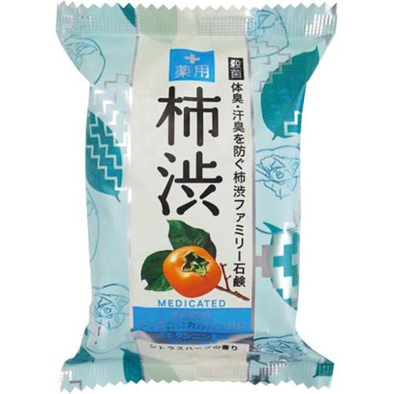 シール異邦人地味なペリカン石鹸 薬用ファミリー柿渋石鹸×6個×4箱