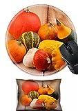 MSDマウス手首残りとラウンドマウスパッドセット、2ピース手首サポート設計22133982ヒープのさまざまなマロウSquash and Pumpkins on木製背景