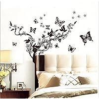 樱のホーム 蝶のブドウの花取り外し可能な自己接着壁画アートデカール壁ステッカー(黒)