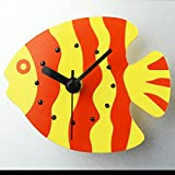 COOLSHOPY 赤と黄色かわいい熱帯魚 冷蔵庫用マグネット レトロ マグネット掛け時計 ウォールステッカー 部屋装飾 模様替えに 簡単 セイコークロック プラスチック枠 クリエイティブ 壁時計 ウォールクロック