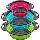 Qimh Collapsible Colander Set of 3 Round Silicone Kitchen Strainer Set - 2 pcs 4 Quart and 1 pcs 2 Quart- Perfect for Drainin
