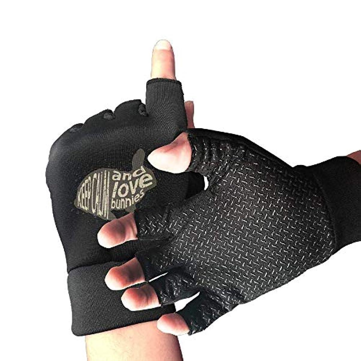 効能ある省略する不確実Cycling Gloves Keep Calm and Love Bunnies Men's/Women's Mountain Bike Gloves Half Finger Anti-Slip Motorcycle...