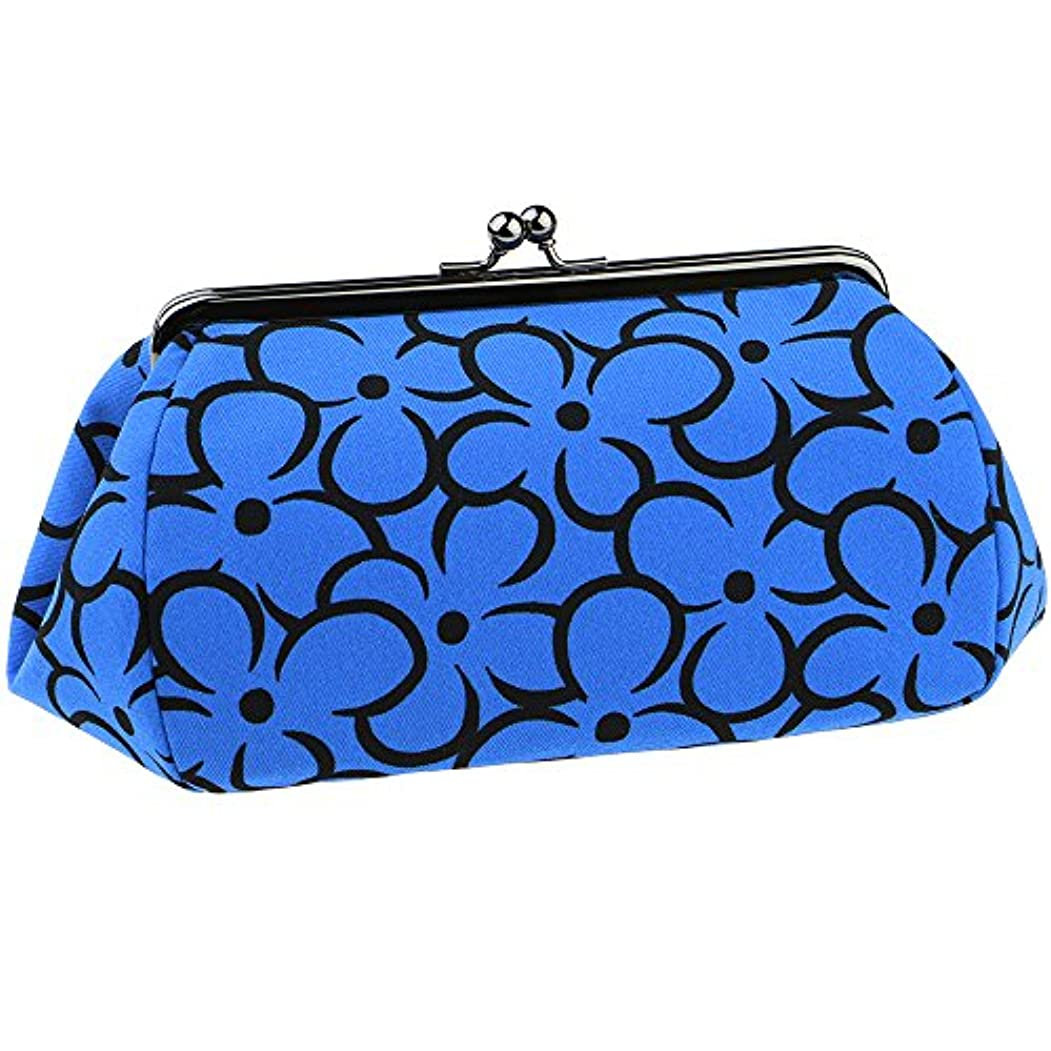 アナニバー照らす汚染されたwatona 花がま口 化粧ポーチ(スリム)50-55sh (5.5寸 スリムサイズ, ブルー)