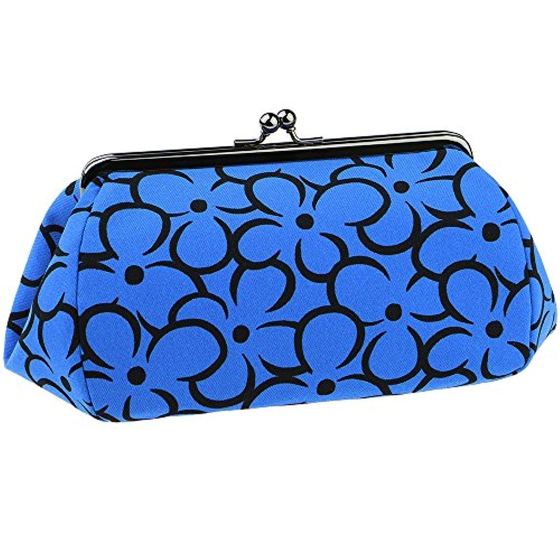 ベンチャー独立して常習的watona 花がま口 化粧ポーチ(スリム)50-55sh (5.5寸 スリムサイズ, ブルー)
