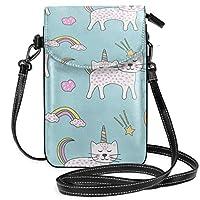 Ciounカスタムメイド素敵な子猫はカラフルな尾と角を持っています 小さいメッセンジャーバッグの携帯電話の札入れ、人格のハンドバッグの小型ショルダー?バッグの女性