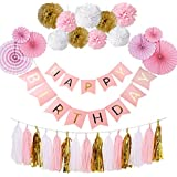 Formemory 誕生日 飾り付け ガーランド バースデー デコレーション HAPPY BIRTHDAY セット パーティー 装飾 ペーパーファン タッセル ギフト 男の子 女の子 大人 プレゼント (ピンク)