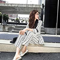 XuBa Bandage Striped Pant Suit for Women Turn-Down Collar Blazer Jacket & Elastic Waisted Pants Casual Female Suits Work Business Set