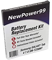 newpower99バッテリー交換キットfor Samsung Galaxy Tab 47.0sm-t230ntをビデオインストールDVD、特別なツール、Extended Life Battery