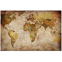 レモンツリーART 世界地図 ポスター アンティーク風世界地図 アンティークマップ 壁飾り 絵画 写真 インテリアファブリック 印刷布製 おしゃれ インテリア ヴィンテージマップ ワールドマップ (90cm*60cm)
