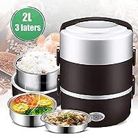 ポータブル弁当箱、漏れ防止食品ウォーマーランチボックス、炊飯器スチーマーミールサーマルオートマチック、食品容器ウォーマークッキングポット、2L 3層