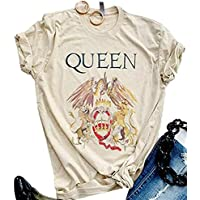 Zicotour Queen T-Shirt Vintage Freddie Memorial Day Graphic Tees Cute Short Sleeve Tops