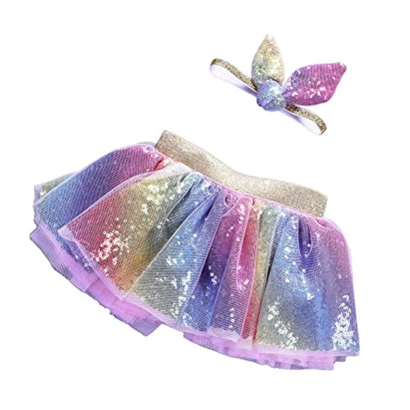 スクレーパーショート中央LUOEM 2PCSレインボーツツスカート(ヘッドバンド付き)プリンセスガールツツーの服装ベイビーガールズ誕生日の服セットサイズL(4-8歳)
