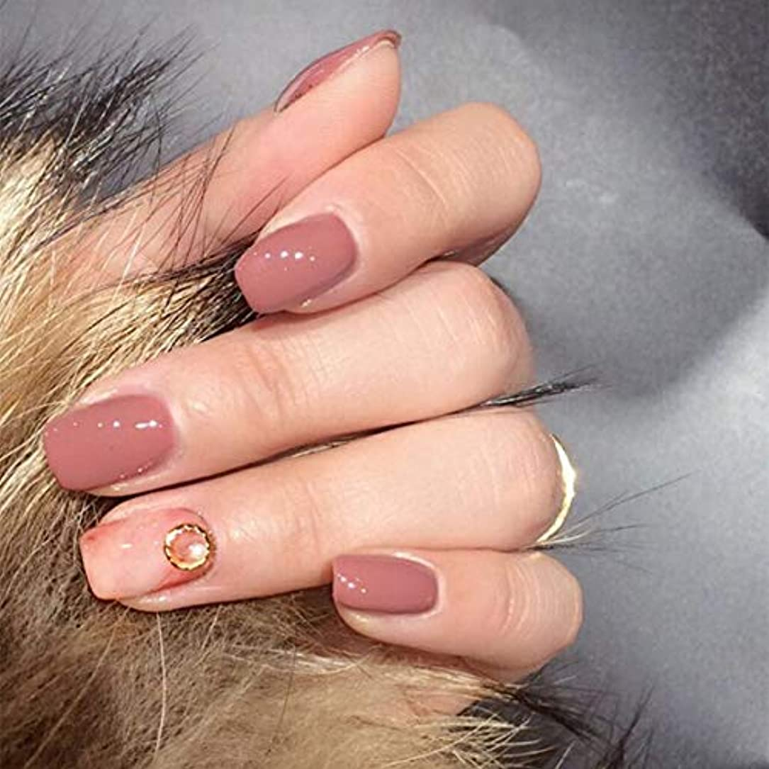 同行する分離クリックXUTXZKA パールフルカバーネイルチップ付き24本の偽の爪モーブペールショートスクエアフェイクネイル人工爪