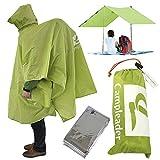 レインコート シート タープ、キャンプやトレッキング登山時の雨対策屋外フェスライブでも活躍リュックを背負ったまま着用できる MG TRAIL 携帯ポンチョ 防寒シート付(グリーン)