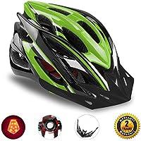 自転車ヘルメット LEDヘルッドライト付き サイクリングヘルメット 22通気穴 取り外し可能なパラソル サイズ調整可能 頭守るCPSC認証 子供/大人も適用