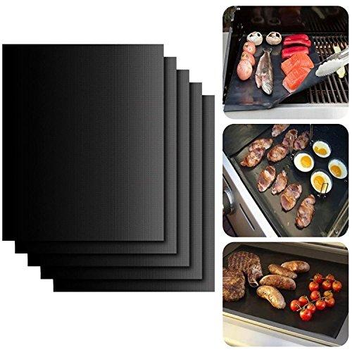 RAINLAX バーベキューグリルマット BBQシート アウトドア 便利 繰り返す使える 鉄板替りに お手入れ (5枚セット)